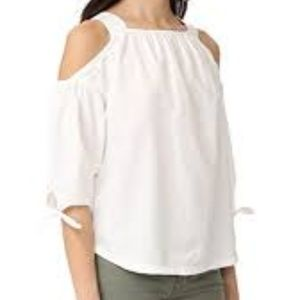 Madewell White Cotton Cold Shoulder Top